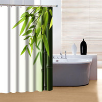 Wholesale Unique Peaceful Bright Bamboo Leaves Design Shower Curtain for Sale