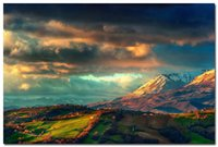 animal range - Italy Apennines The Mountain Range Nature Art Silk Poster Clouds Valley