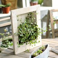 Wholesale Fleshy frame wall flower potted device flower box made of solid wood handmade ZAKKA grocery old vintage garden supplies