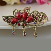butterfly hair clip - Exquisite Elegance Springs Ethnic Alloy Rhinestone Cross Hairpin Butterfly Clip Hair Barrettes Combs Hair Grip Clawhair Jewelry Hair Clips
