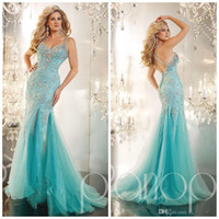 Reference Images V-Neck Chiffon Pageant Gown 2015 Sparkling Beaded All Bodice Mermaid Aqua Lace Prom Dresses Evening Formal Gown With Straps Back