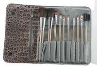 accessory kit brown - Brushes Makeup set wooden Brushes set tools portable full Cosmetic brush tools makeup accessories Snakeskin grain hand bag