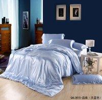 azure silk set - Light blue azure mulberry silk bedding set king size queen duvet cover bedsets quilt bed linen sheet