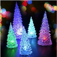 Wholesale Christmas Tree Christmas Ornament Acrylic Crystal Colorful Mini Changing LED night light lamp Christmas Decorations with Retail Package