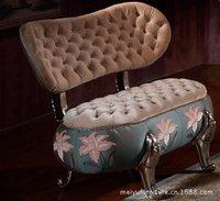 Sofá tecido europeu neo-clássico mobiliário de madeira sólida pequeno sofá sofá Cadeira abóbora combinação