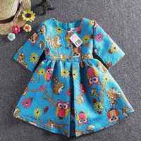 baby girl dreses - 2015 Girls Owl Printing Middle Sleeves Dresses Girls Princess Dresses Summer Children s Clothing Baby Fashion New Floral Dreses Kids Dresses
