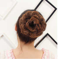 hair bun piece - Flower Curly Chignons Synthetic Hair Buns Hot Sale Bride Chignons Hair piece Hair Buns Hair Extensions Full Hair Chignons G0078