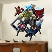 avengers movie online - The Avengers Wall Art Stickers Kids Room Bedroom Background Wall Decals cm Christmas Decoration Wall Art Wallpaper Online