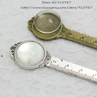 antique rulers - 5 sets Antique Bronze Alloy Cameo Round ruler Bookmarks mm Fit mm Round Cabochon Settings Clear Glass Cabochons