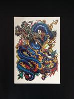 big dragon tattoos - New D Large Big Tatoo Sticker cm Sketch Blue Chinese Dragon Painting Designs Cool Temporary Tattoo Stickers