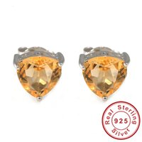 Cheap 1.4ct Genuine Natural Citrine Trillion Stud Earring For Women Solid 925 Sterling Silver Fashion Charm Yellow Gemstone Jewelry