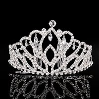 america bridal - 5PCS Fashion Crown Headwear New Arrival Crystal Crown Europe And America Fashion Big Tiara Hair Combs Bridal Accessories