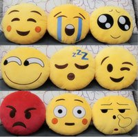 Wholesale 20 styles Emoji Plush toys CM emoji Stuffed Toys Emoji Pillows Cartoon QQ Expression Cushion Emoji Pillow Emoji Stuffed Plush doll D317