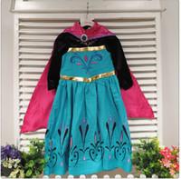 Cheap frozen princess elsa gown frozen coronation dress girls frozen princess elsa dress with cape elsa long sleeve costume dresses DHL