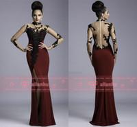 silk dress shirt - 2016 Janique Burgundy Split Evening Dresses High Neck Sheer Long Sleeves Appliques Long Mermaid Floor Length Prom Gowns K6404
