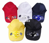 Wholesale Trendy colors Pick New Summer Sport Outdoor Solid Velcro Closure Hat Cap with Solar Sun Power Cool Fan For Golf Baseball
