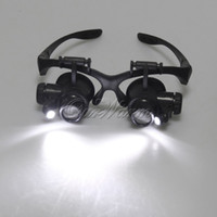 Wholesale Black Double Eye Magnifier for Jeweler Repair Loupe Magnifying Glasses with LED Light Pairs Replaceable Lens X X X X
