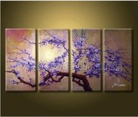 Wholesale Contemporary Large Art Cherry Blossom Flowers Wall On Canvas Php750 pure hand painted