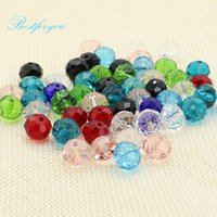 Wholesale 100Pcs Mixed Faceted Glass Crystal Rondelle Spacer Beads For Jewelry Making Accessories Handmade DIY X8mm
