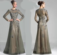 Wholesale Long Sleeves mother of the bride groom dress with jewel muslim ABAYA KAFTAN lace A line Formal Evening Dresses w327