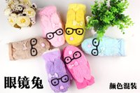 Wholesale 2014 ms qiu dong new gloves gloves Han edition lovely eyes of rabbit cartoon inside the glove with thick wool mittens