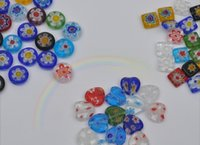 Wholesale MM millefiori glass round diamond square blending random DIY Jewelry Accessories Optional items