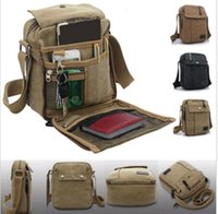 duffel bag - 2015retail Mens Canvas Leather Satchel School Military Shoulder Bag Messenger Bag