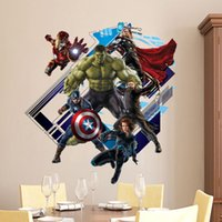 Wholesale 3D Avenger Wall Sticker Baby Kids Room Stickers Cartoon Home Decor Wallpaper Poster Kids Room Decals Nursery Art