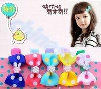 Cheap cute baby pearl decoration hair clip ribbon bow flower hairpins kid headdress girl barrettes hair accessories
