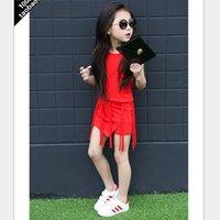 american range - Girls Suit Summer New Korean Children s Long range Trend Tassel Solid Color Sleeveless Vest Shorts Kids