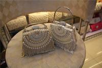 beading bags - Hand Working Pearls Shell Handbag Diamond Decoration Pearl Bow Buckle Woman Clutches Handbag Evening Bag