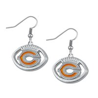 Wholesale New Arrivala Single Sided Rhodium Plated Sports Team Logo Enamel Orange Pendant Women Earrings Pairs