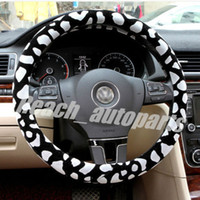Wholesale New Flocking Leopard Print Car Steering Wheel Cover Inch Diameter order lt no track