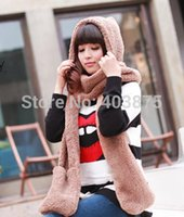 Wholesale Winter Warm Fashion Fur Hats For Women Hat Scarf Gloves Triad Hat Scarf Set Pocket Earflap Hat Long Scarf Shawl Snood Snood