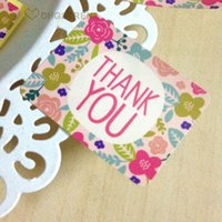 adhesive gift tags - 900pcs sheets Floral quot Thank you quot adhesive sticker DIY gift packaging seal label paper tag package decoration