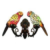 al por mayor x mas luces-guacamayos lámpara de Tiffany pájaro pared de cristal de colores de acento montada novedad de la lámpara de lámpara vestíbulo único año nuevo regalo de X'mas