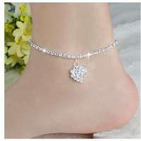 anklets for sale - Cute DIAMANTE RHINESTONE ANKLET WITH HEART ANKLE CHAIN Women Jewelry Fashion For Sale