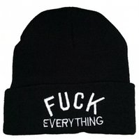Cheap Wholesale-New fuck everything cotton knit beanie hats for men women sports hip hop caps grey black winter fashion embroidery letters