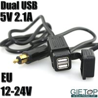 Wholesale Daul USB V A Car Motorcycle Charger System W EU Adapter Connector Plug V Vehicle Charging Socket Power Outlet Supply