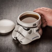 beer drinking cartoons - star wars Ceramic Mug Darth Vader Storm Trooper Custom Sculpted coffee cup with lid handle black white creative drinking beer mugs gift box