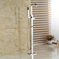 Wholesale And Retail Modern Square Floor Mounted Bathroom Tub Faucet Waterfall Spout Mixer Tap W Hand Shower