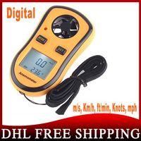 Wholesale 100pcs Digital Tachometer Pocket Anemometer Wind Speed Test Meter Thermometer Contas De Rpm Air Flow Meter