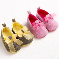 baby girl gold sandals - 2015 New Baby First Walkers Gold Shiny Ribbons Shoes Polka Dot Soft Sole Fashion Baby Cotton Sandals m