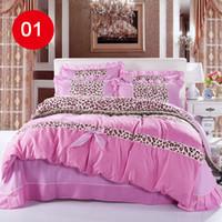 bedding roses - Romantic Falbala Ruffle Lace Bedding Sets Pink Princess Duvet Cover Set Elegant Roses and Grids Cotton Ruffle Comforter Sets