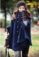 Wholesale 2015 new autumn and winter Women Poncho Pea Coat Fashion Women s Cape Coats Jackets Outerwear batwing sleeve high quality