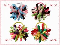 "Hair Bows Blending Print 50pcs renda 3.5"" korker ponytail hair ties holders streamer corker hair bows clip Cheer Bows Curly Ribbon Bow hair bobbles PD006"