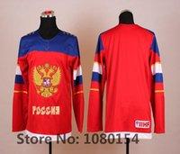 2016 Nuevo, Para la venta barato 2014 Último equipo de Rusia Camiseta de hockey olímpico Azul rojo Sochi Juegos Olímpicos de invierno Jerseys, todos los fans del mundo Favorito