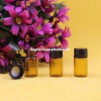 Wholesale 12 ml dram Amber Glass Essential Oil Bottle perfume sample tubes Bottles ZH204