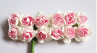 Wholesale 288PCS Mulberry Paper Flower Bouquet DIY gift box and card Scrapbooking artificial decoration rose flowers