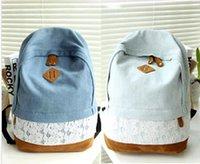 bead embroidery books - 2015 retail Women Girls Lace Denim Canvas Backpack Satchel Rucksack Shoulder blue lace Travel Book Bag
